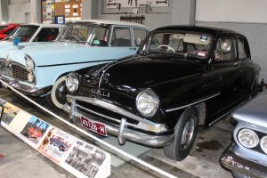 Shows the 1956 Simca Aronde currently on display at the Gippsland Vehicle Collection in Maffra